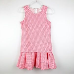 Chloé Pink Tweed Ruffle Drop Waist Dress 14 Girls